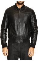 Armani Jeans Down Jacket Bomber Leather - Lyst