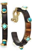 Lauren by Ralph Lauren Goldtone Turquoise Accent Hoop Earrings - Lyst