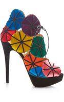 Charlotte Olympia Parasol Satin and Suede Platform Sandals - Lyst