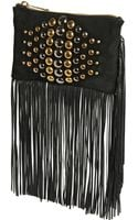 Just Cavalli Studded Fringed Suede Clutch - Lyst
