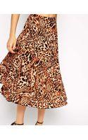 Asos Pleated Midi Skirt in Animal Print - Lyst