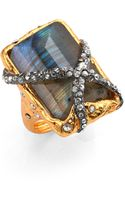 Alexis Bittar Elements Phoenix Labradorite Rocky Rectangle Ring - Lyst