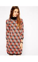 Asos Knitted Dress in Tapestry Pattern with Turtle Neck - Lyst