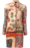 Jean Paul Gaultier Mixed Print Shirt Dress - Lyst