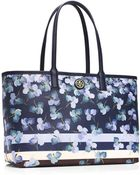 Tory Burch 'Kerrington' Iris Print Faux Leather Crossbody Bag - Lyst