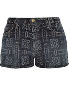 Current/Elliott The Boyfriend Printed Stretch-Denim Shorts - Lyst