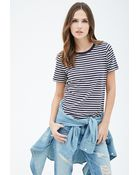 Forever 21 Striped Crew Neck Tee - Lyst