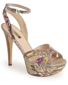 Guess 'Odonna' Snake Embossed Faux Leather Platform Sandal - Lyst