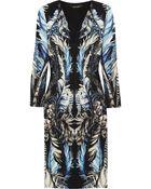 Roberto Cavalli Lace-Paneled Printed Stretch-Jersey Dress - Lyst