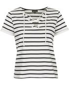 Topshop Tie-Front Striped Top - Lyst