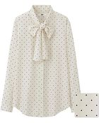 Uniqlo Rayon Bow Tie Long Sleeve Blouse - Lyst