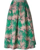 MSGM Floral Print Pleated Skirt - Lyst