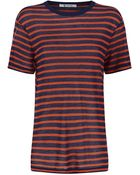 T By Alexander Wang Short Sleeve Striped Linen T-Shirt - Lyst