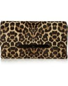 Christian Louboutin Rougissime Leopard-Print Calf Hair Clutch - Lyst