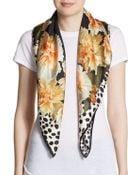Roberto Cavalli Floral And Dot Print Silk Scarf - Lyst