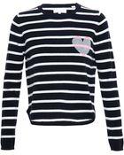 Chinti & Parker Striped Cashmere Heart Jumper - Lyst