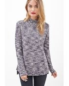 Love 21 Textured Marled Knit Sweater - Lyst