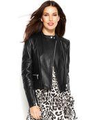 Michael Kors Michael Zip-front Leather Moto Jacket - Lyst