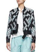3.1 Phillip Lim Geometric-print Textured Jacket W Leather Belt - Lyst