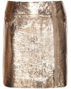 McQ by Alexander McQueen Metallic Leather Skirt - Lyst