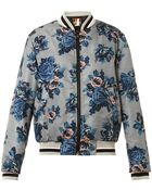 MSGM Floral-Print Bomber Jacket - Lyst