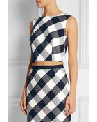 Oscar de la Renta Gingham Stretch Wool-Blend Top - Lyst