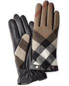 Burberry Wool And Leather Touch Screen Gloves - Lyst
