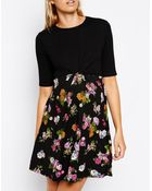 Asos Maternity Floral Skater Dress With Plain Top And Twist Front - Lyst