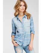 Forever 21 Striped Chambray Shirt - Lyst