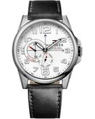 Tommy Hilfiger Mens Black Leather Strap Watch 46mm - Lyst
