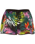River Island Green Tropical Print Runner Shorts - Lyst