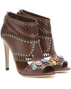 Gucci Embellished Open-Toe Leather Ankle Boots - Lyst