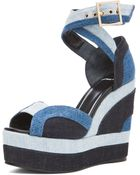 Pierre Hardy Denim Wedge Sandals - Lyst