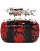 Alexander McQueen Snakeskin Salamander Short Knuckle Box Clutch - Lyst