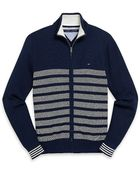 Tommy Hilfiger Front Zip Stripe Sweater - Lyst