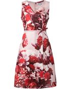 Carolina Herrera Floral Print A-Line Wrap Dress - Lyst