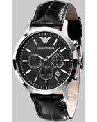 Emporio Armani Slim Stainless Steel Chronograph Watch - Lyst