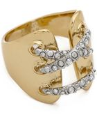 Alexis Bittar Encrusted Crisscross Band Ring - Gold - Lyst