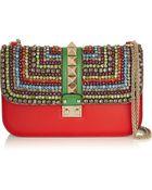 Valentino Glam Lock Medium Crystal-Embellished Leather Shoulder Bag - Lyst