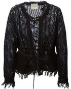 Nude Open Knit Fringed Cardigan - Lyst