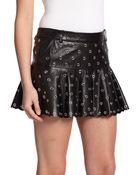RED Valentino Eyelet Leather Skirt - Lyst