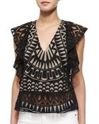 BCBGMAXAZRIA Sheer-Patterned Ruffled Top - Lyst