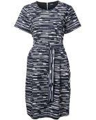 Jil Sander Navy Printed Belted Dress - Lyst