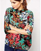 Asos Floral Print Short Sleeve Kimono Blouse - Lyst