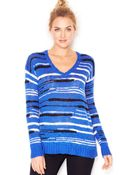 Kensie Long-Sleeve V-Neck Striped Sweater (Only At Macy'S) - Lyst