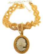 Bisou Bijoux Gold Braided Necklace With Italian Cameo - Lyst