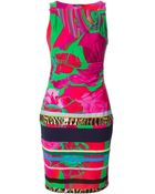 Roberto Cavalli Fitted Abstract-Print Dress - Lyst
