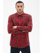 21men Plaid Flannel Collared Shirt - Lyst