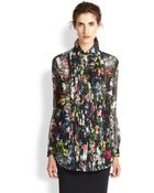 McQ by Alexander McQueen Floral-Print Silk Chiffon Pleated-Front Blouse - Lyst
