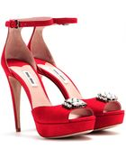Miu Miu Embellished Suede Platform Sandals - Lyst